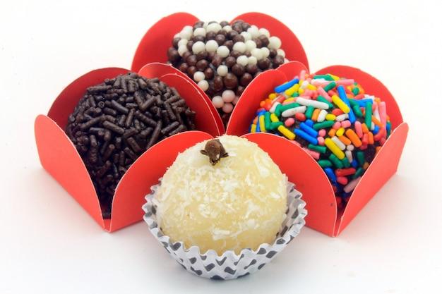 Brigadeiro (brigadier), chocolate sweet typical of brazilian cuisine Premium Photo
