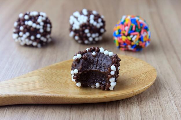 Brigadeiro (brigadier), sweet chocolate typical of brazilian cuisine Premium Photo