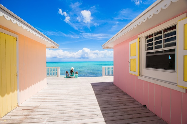 Bright colored houses on an exotic caribbean island Premium Photo