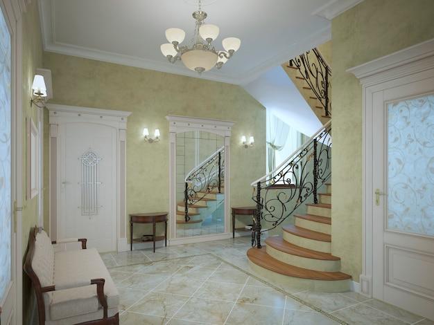 신고전주의 스타일의 고급 주택의 밝은 복도는 둘레에 Sconces가 있고 밝은 대리석 세라믹 바닥과 밝은 올리브 색상의 석고 질감 벽이 있습니다. 프리미엄 사진