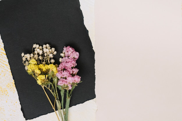 Bright flowers branches with black paper on table Free Photo