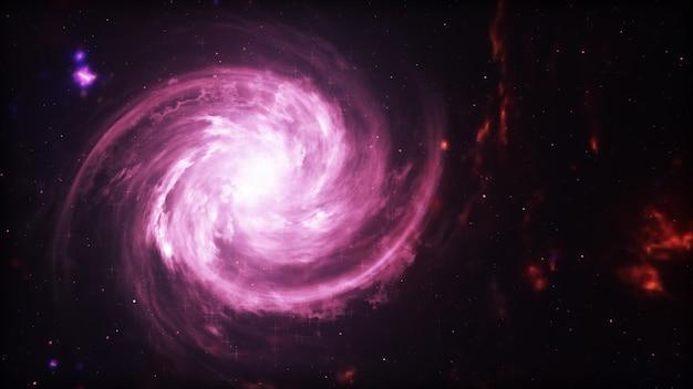 Яркая галактика. абстрактные звезды на черном фоне. фэнтези фрактальная текстура в красный, розовый и светло-фиолетовый цвета. цифровое искусство. 3d иллюстрация Premium Фотографии