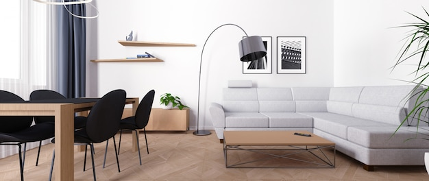 Bright interior of the living room during the day. Premium Photo