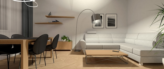 Bright interior of the living room in the evening with additional lighting. Premium Photo