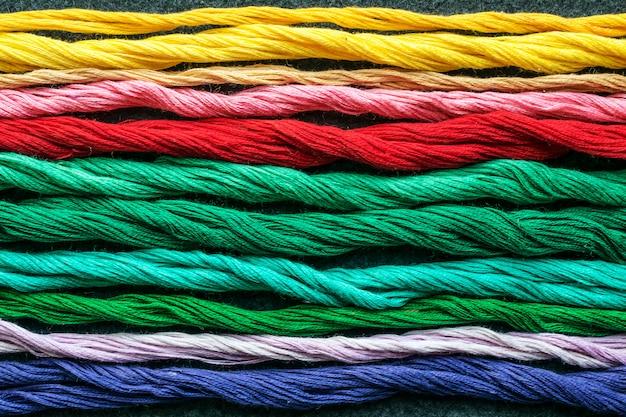 Bright multicolored embroidery thread yarns Premium Photo