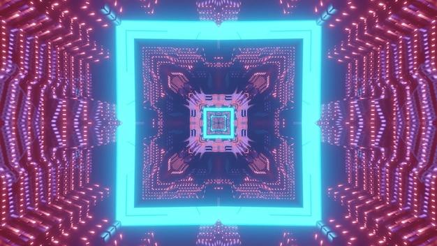 Bright neon blue square pattern forming futuristic sci fi corridor in lights 3d illustration Premium Photo