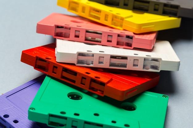 Bright retro cassette tapes Premium Photo
