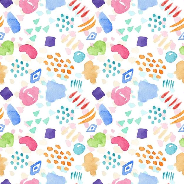 Яркий бесшовный акварельный образец с цветными пятнами, каплями и линиями для текстильного дизайна Premium Фотографии
