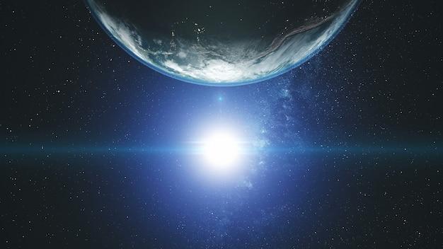Яркое солнце на вращающейся земле с голубым ореолом и белыми облаками. Premium Фотографии