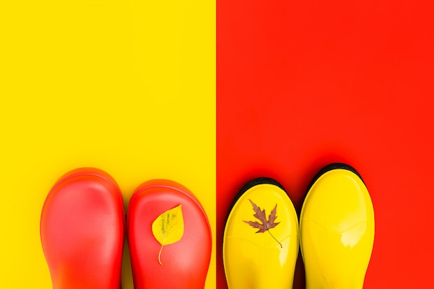 Bright women's rain boots on colourful backgrounds with flown leaves at the tips Premium Photo