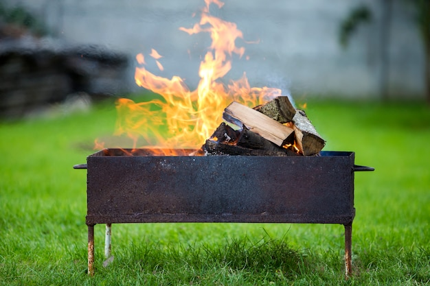 Brightly burning in metal box firewood for barbecue outdoor. Premium Photo