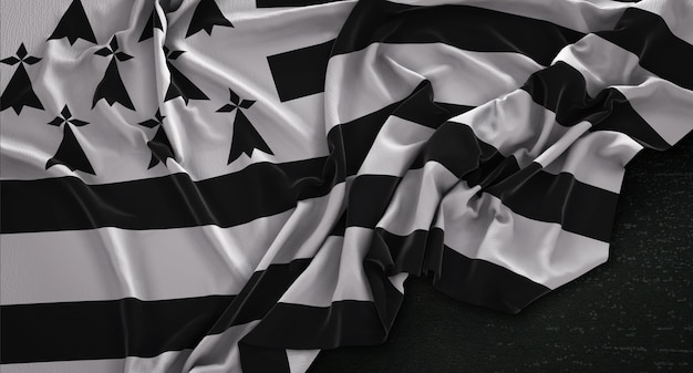 Brittany flag wrinkled on dark background 3d render Free Photo