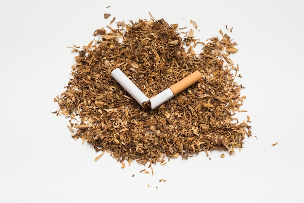 Broken cigarette on tobacco against white background Free Photo