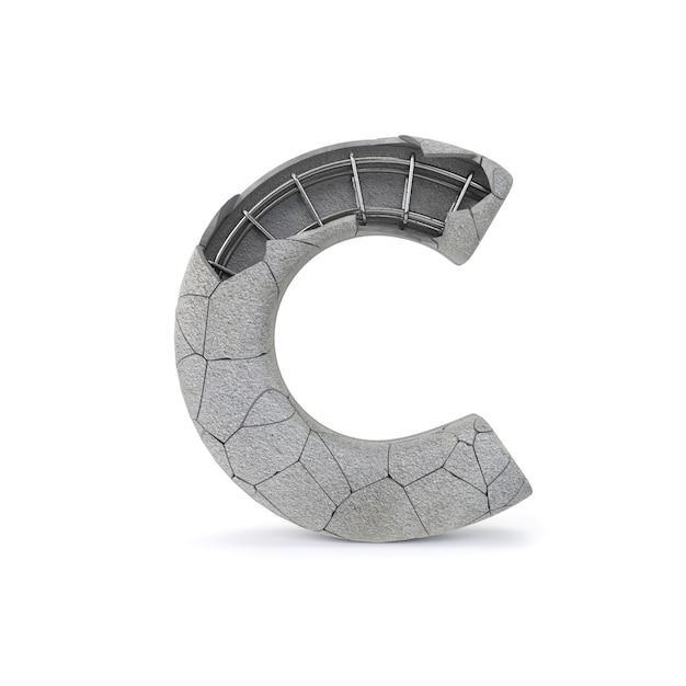 Broken concrete alphabet c Premium Photo