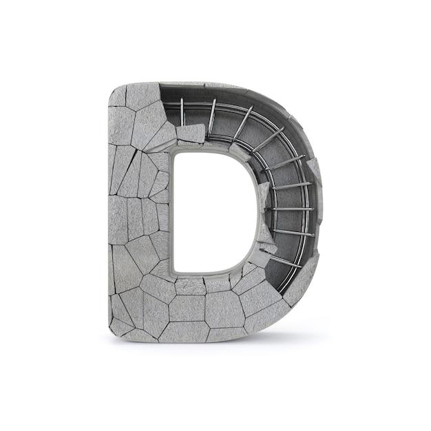 Broken concrete alphabet d Premium Photo
