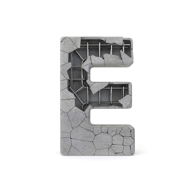 Broken concrete alphabet e Premium Photo