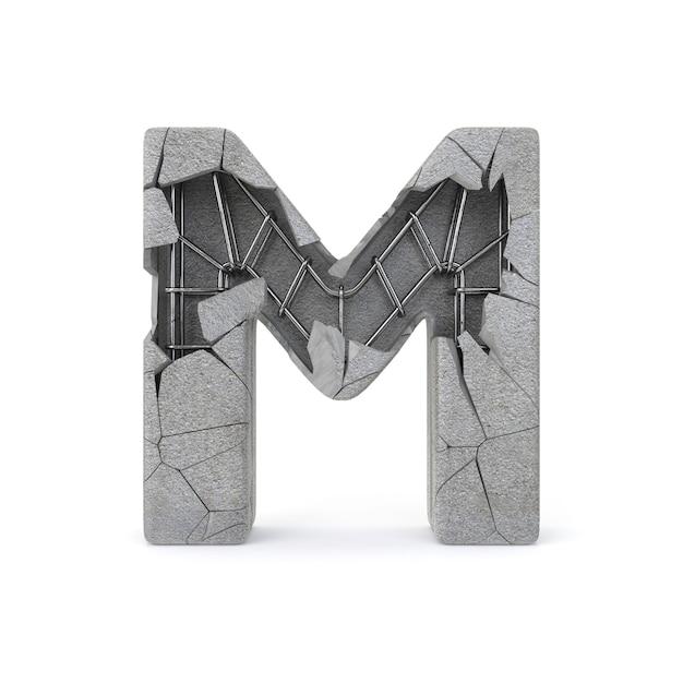 Broken concrete alphabet m Premium Photo