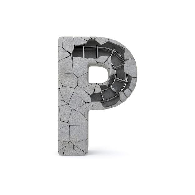 Broken concrete alphabet p Premium Photo