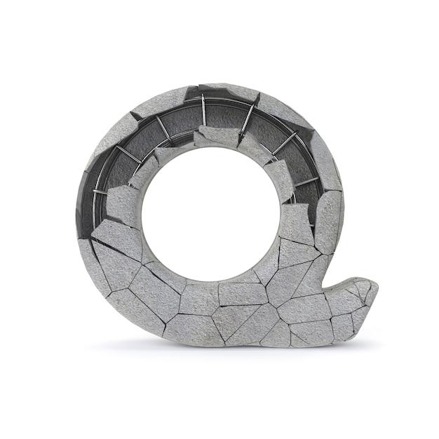 Broken concrete alphabet q Premium Photo