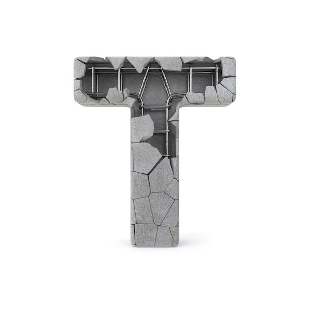 Broken concrete alphabet t Premium Photo