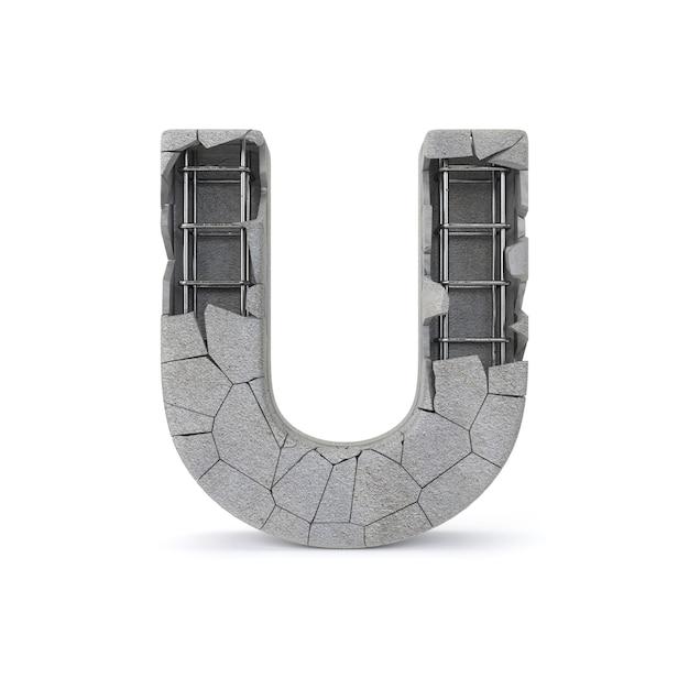 Broken concrete alphabet u Premium Photo