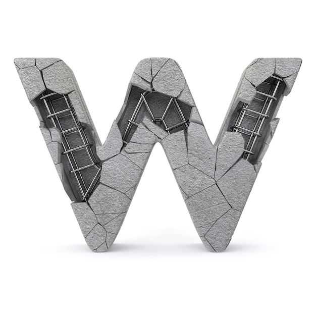 Broken concrete alphabet w Premium Photo