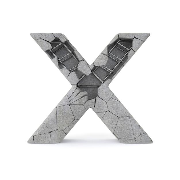 Broken concrete alphabet x Premium Photo
