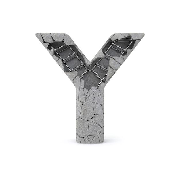 Broken concrete alphabet y Premium Photo