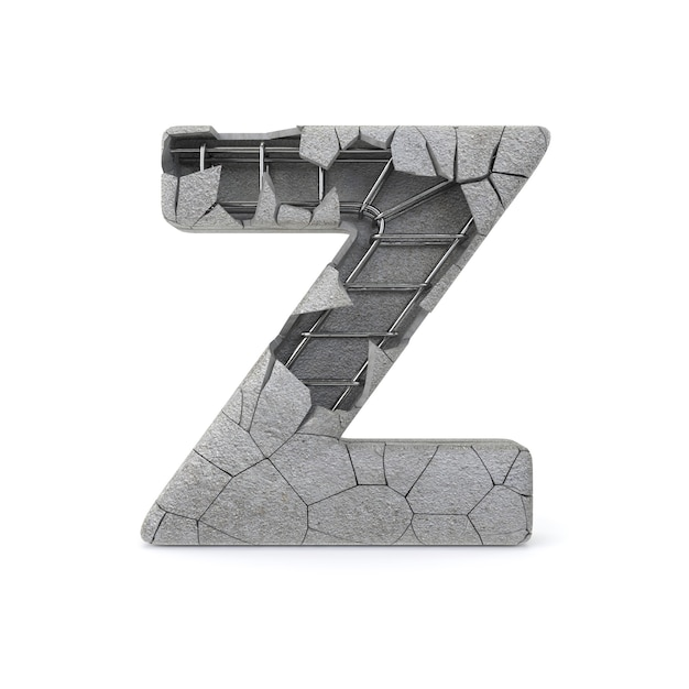 Broken concrete alphabet z Premium Photo