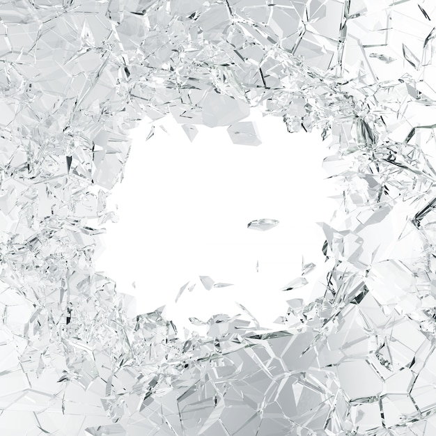 Broken glass background, abstract illustration of into pieces isolated on white Premium Photo