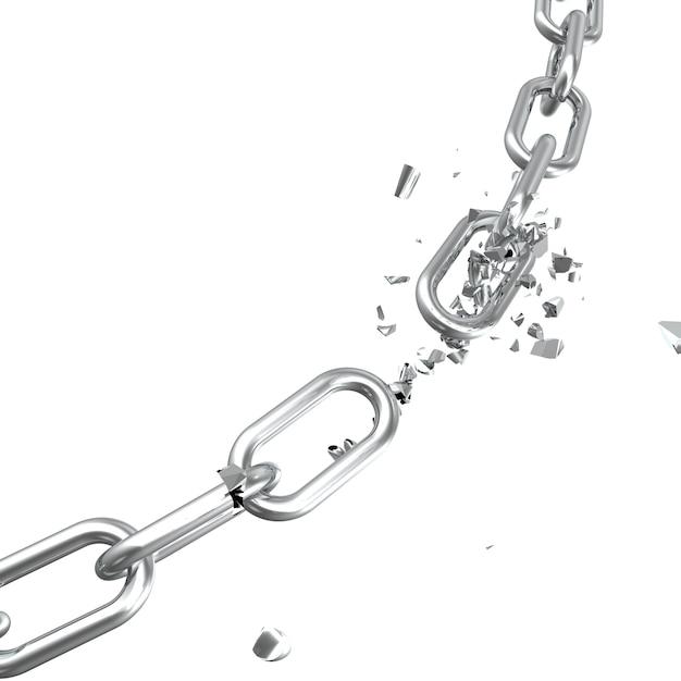 Сломанная сталь, сломанная металлическая цепь связывает концепцию свободы. разрушение прочной стали, 3d иллюстрации Premium Фотографии