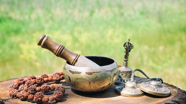 Bronze tibetan singing bowl Premium Photo