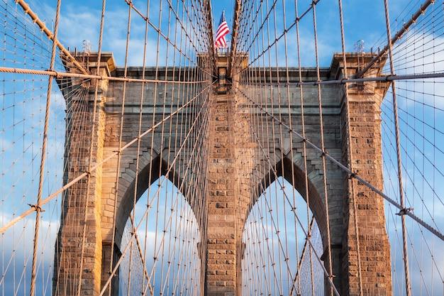 ニューヨーク市ブルックリン橋。米国。 無料写真