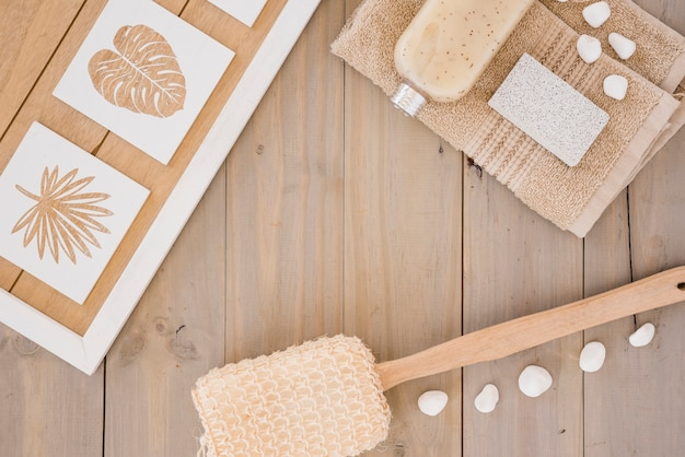 Brown accessories for body washing Free Photo