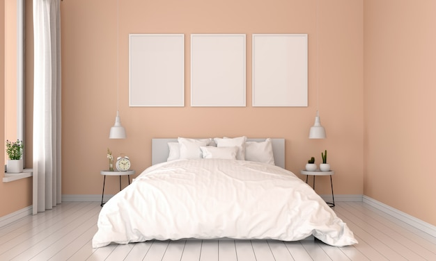 Brown bedroom interior and three empty photo frame for mockup Premium Photo