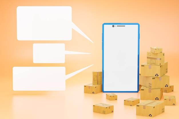 The brown cardboard box and white blank text box around the blue smartphone in a bright orange Premium Photo