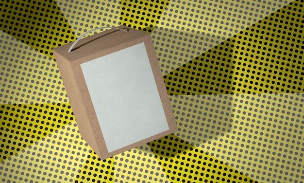 Brown copy space cardboard box on comics background Free Photo