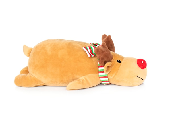 Brown deer plush isolated on white Premium Photo