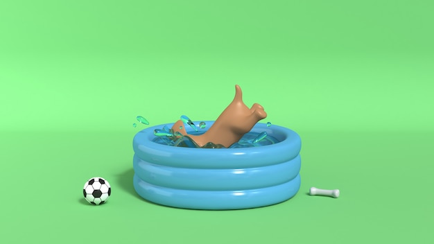 Brown dog jumping into pool green background 3d render Premium Photo