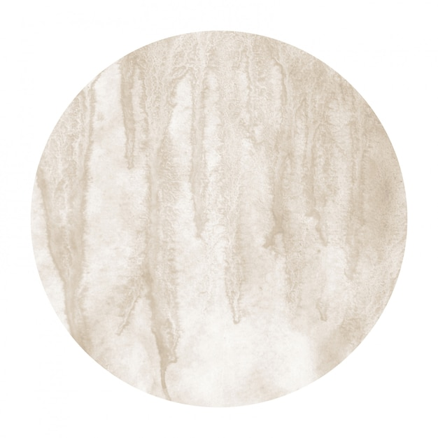 Brown hand drawn watercolor circular frame background texture with stains Premium Photo
