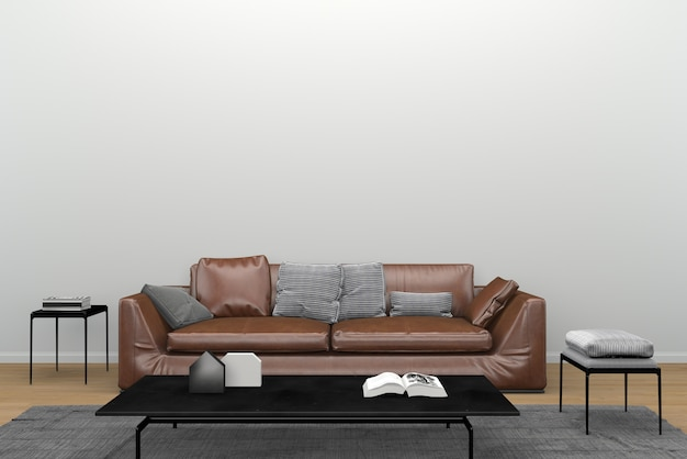 Wondrous Brown Leather Sofa Black Mirror Table Carpet Living Room Caraccident5 Cool Chair Designs And Ideas Caraccident5Info