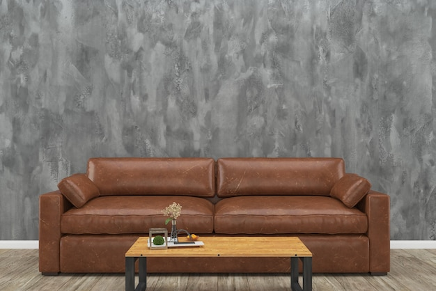 Incredible Brown Leather Sofa Loft Concrete Wall Wood Table Wooden Gmtry Best Dining Table And Chair Ideas Images Gmtryco