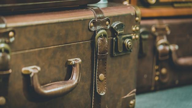 Brown leather suitcase Premium Photo