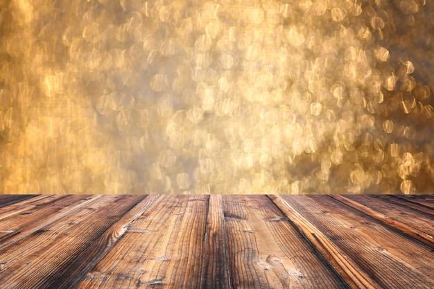 Brown old wooden floor on christmas bokeh backdrop. Premium Photo