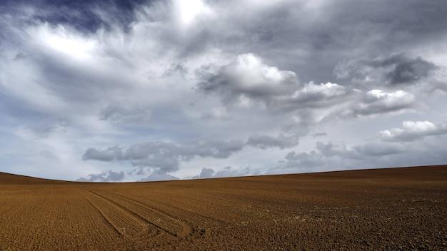 Terra di sabbia marrone sotto il cielo grigio nuvoloso scuro Foto Gratuite