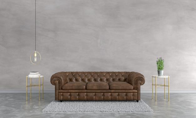 Brown sofa in living room Premium Photo