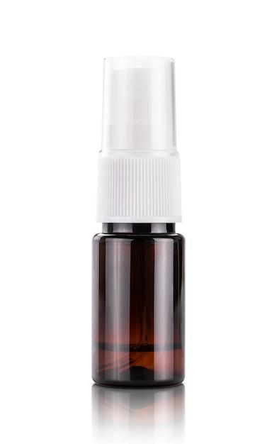제품 디자인 모형을위한 갈색 투명한 플라스틱 입 살포 병 프리미엄 사진