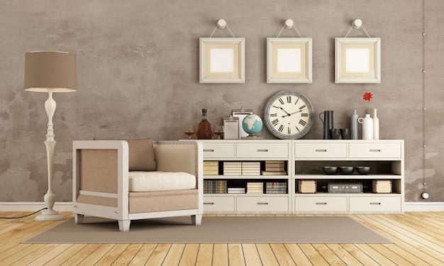 안락 의자와 장식 개체가있는 찬장이있는 갈색 빈티지 룸. 3d 렌더링 프리미엄 사진