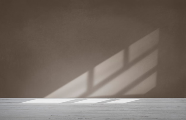 Brown wall in an empty room with concrete floor Free Photo