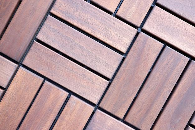 茶色の木の床タイルトップビュー Premium写真
